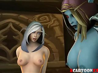 Warcraft pussy hammering and futanari sex