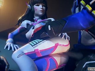 Big tits Pharah does titjob and Dva takes raw dick in pussy
