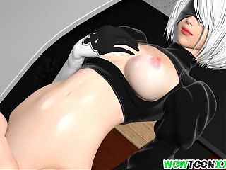 Busty 3D babe fucked doggystyle well