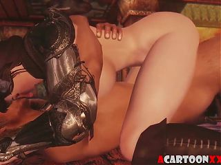 Horned 3D brunette fucked deeply in her pussy
