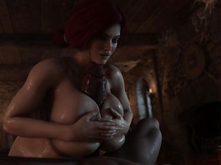 Triss fuck big dick with her big tits by RIGID3D