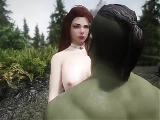Girl has sex with orc