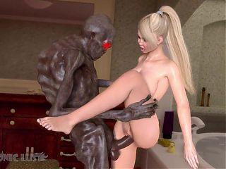 Boogeyman monster fucks busty Blonde in the bathroom. 3D Sex
